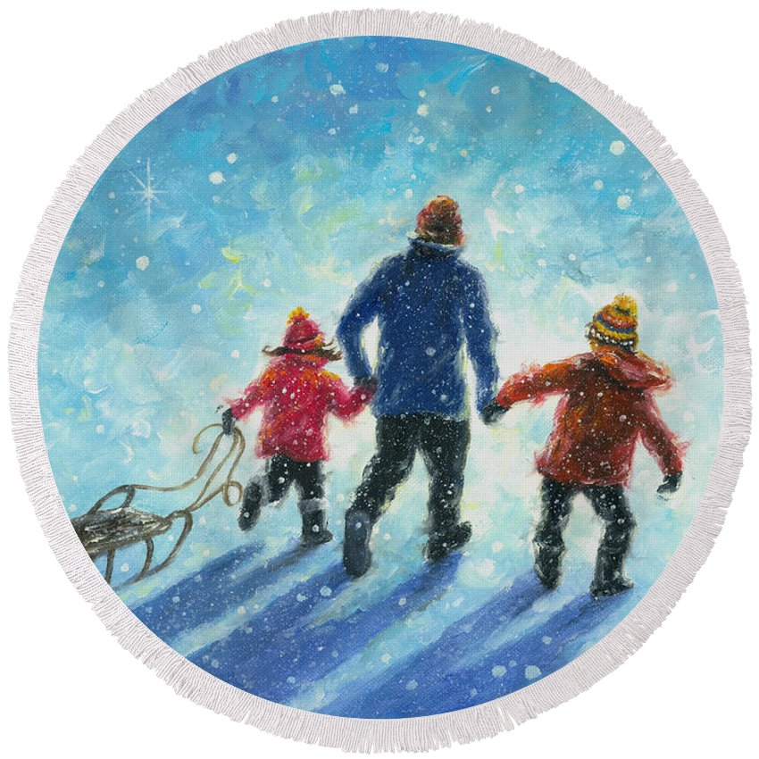Sledding Round Beach Towel featuring the painting Sledding With Dad by Vickie Wade