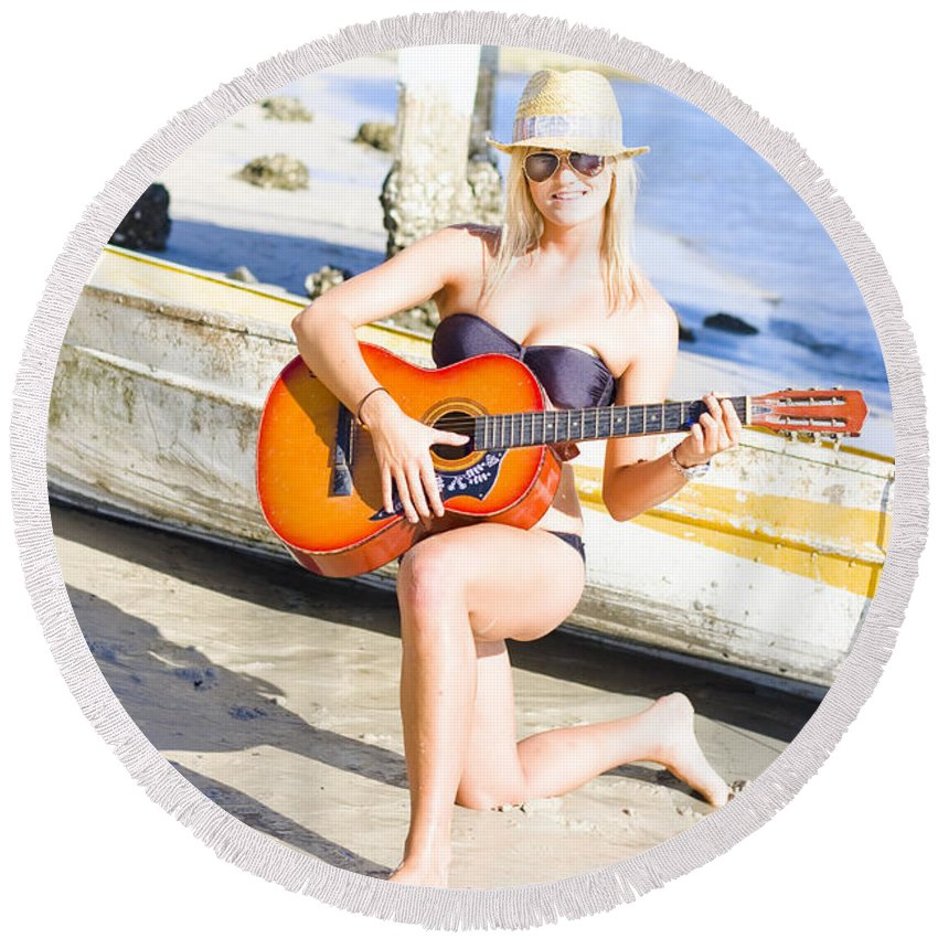 Active Round Beach Towel featuring the photograph Smiling Girl Strumming Guitar At Tropical Beach by Jorgo Photography - Wall Art Gallery