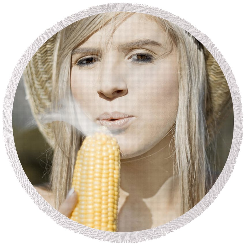 Adult Round Beach Towel featuring the photograph Smoking Hot Corn Cob Woman by Jorgo Photography - Wall Art Gallery