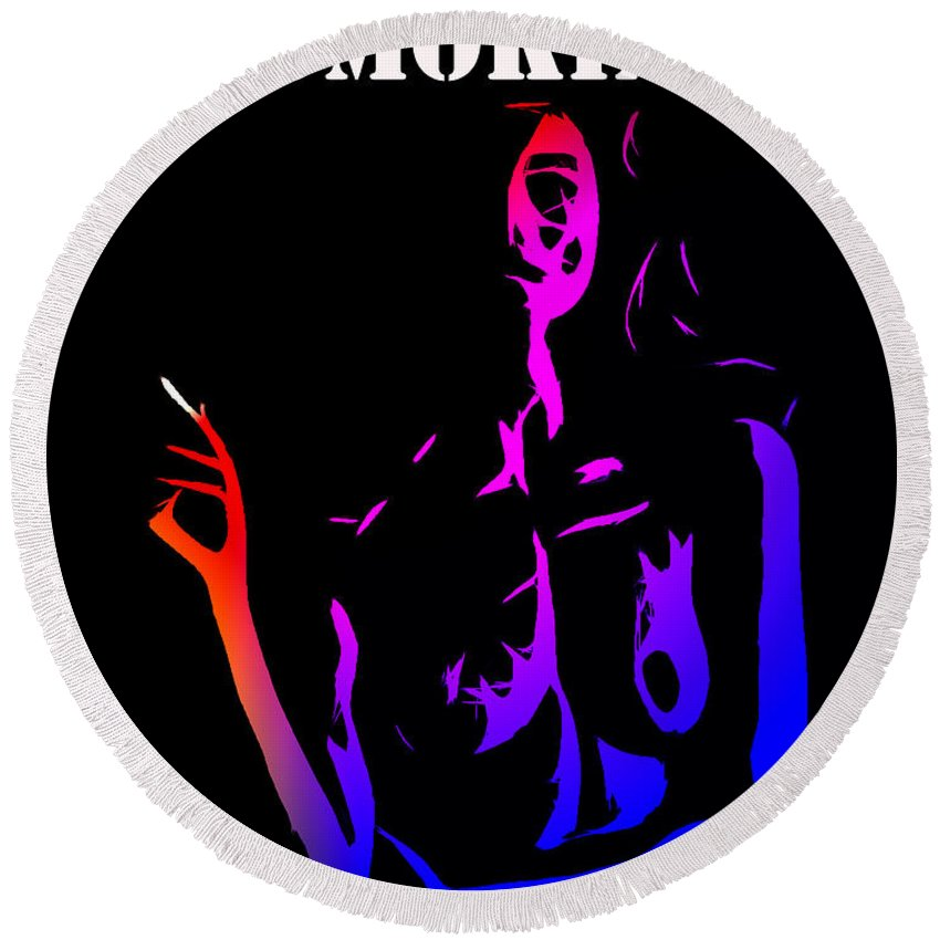 Smoke Smoking Cigarette Kill Killing Kills Girl Female Nude Skeleton Dead Death Round Beach Towel featuring the painting Smoking Kills by Steve K