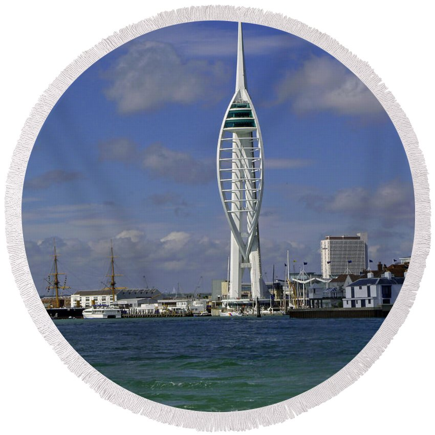 Spinnaker Tower Round Beach Towel featuring the photograph Spinnaker Tower by Tony Murtagh