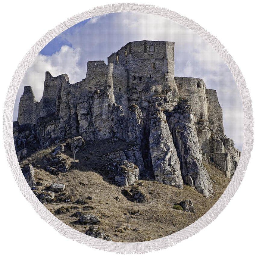 Castle Round Beach Towel featuring the photograph Spissky Hrad Castle by Les Palenik
