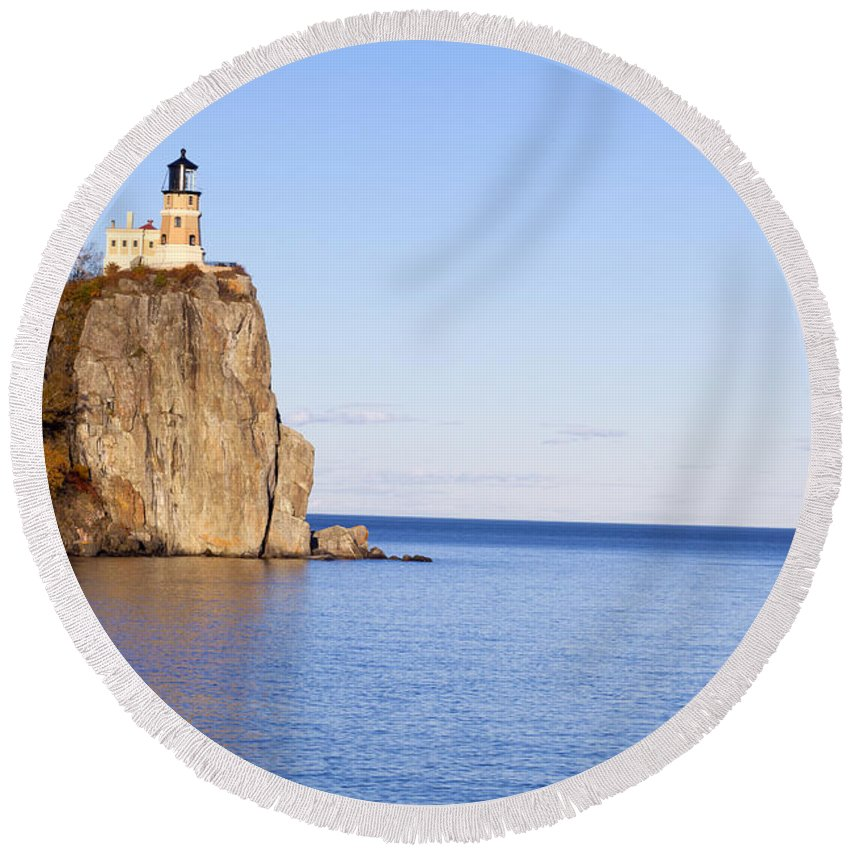 Split Rock Lighthouse Round Beach Towel featuring the photograph Split Rock Lighthouse by Anthony Totah