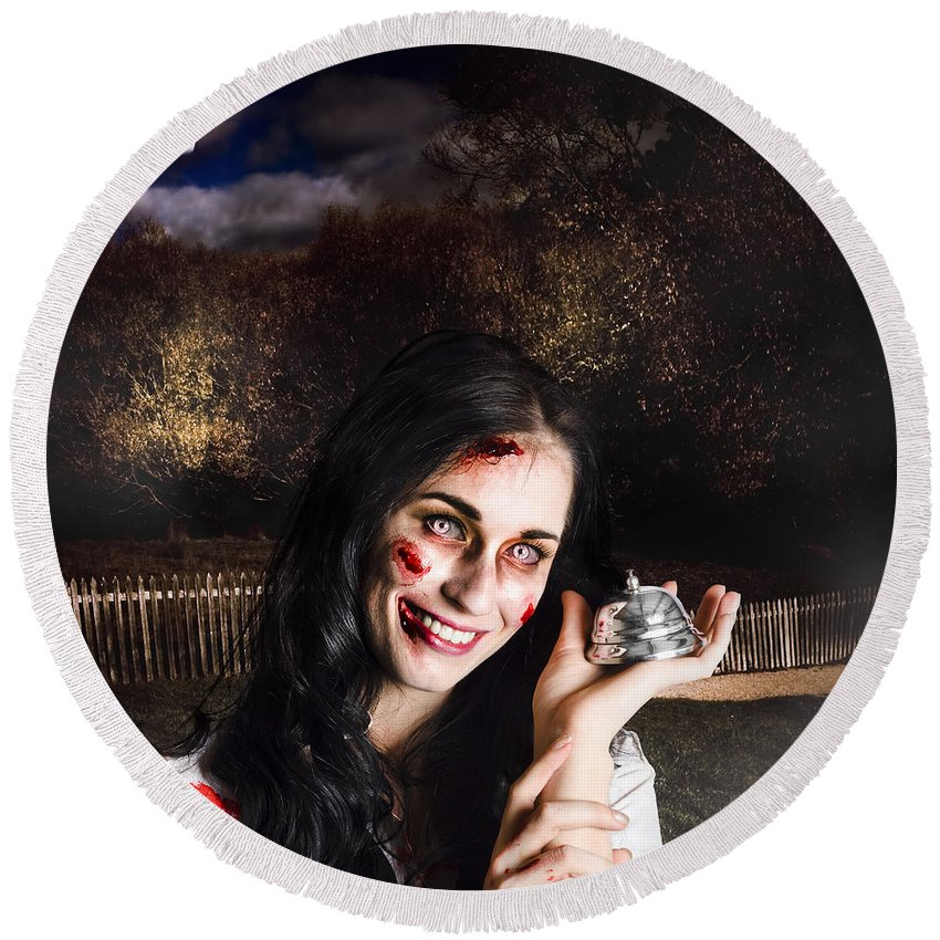 Apocalypse Round Beach Towel featuring the photograph Spooky Girl With Silver Service Bell In Graveyard by Jorgo Photography - Wall Art Gallery