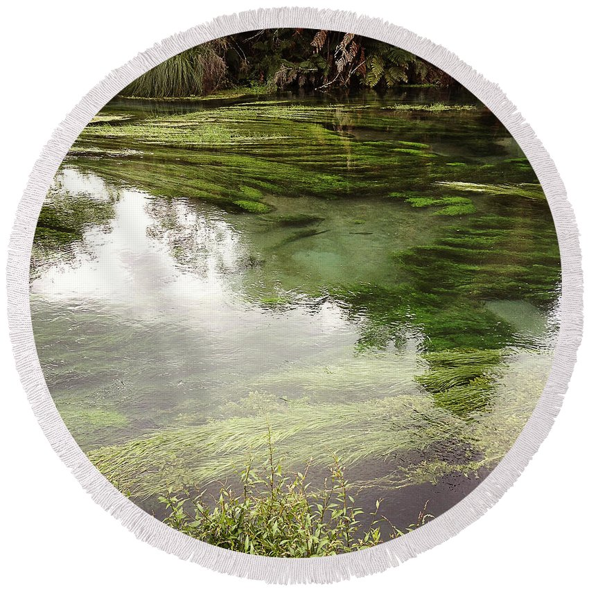 Marsh Round Beach Towel featuring the photograph Spring Water by Les Cunliffe