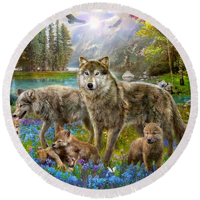 Jan Patrik Krasny Round Beach Towel featuring the photograph Spring Wolf Family by MGL Meiklejohn Graphics Licensing