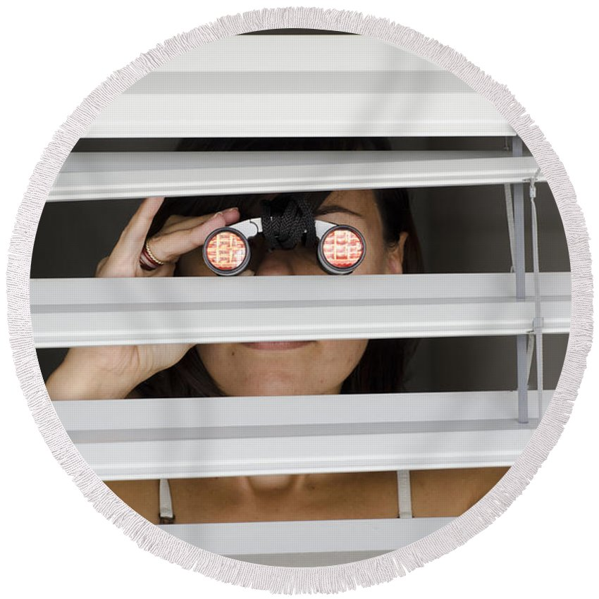 Blinds Round Beach Towel featuring the photograph Spying by Mats Silvan
