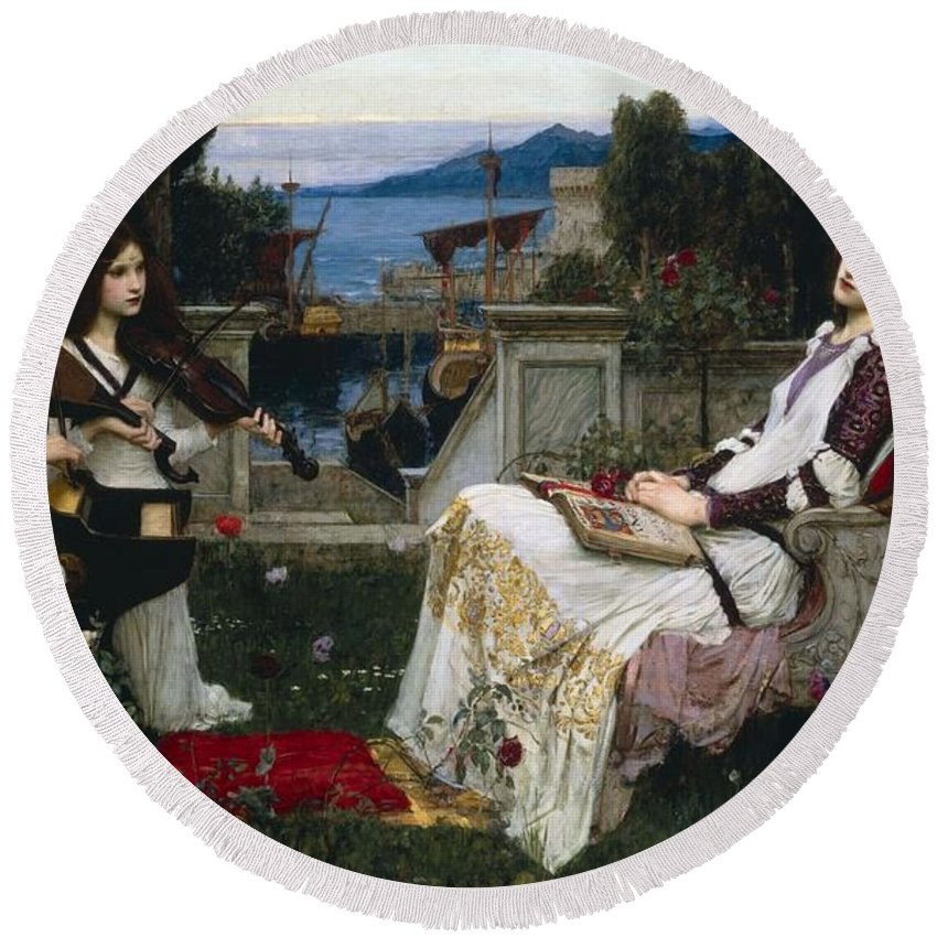 Pre-raphaelite Round Beach Towel featuring the painting St Cecilia by Philip Ralley