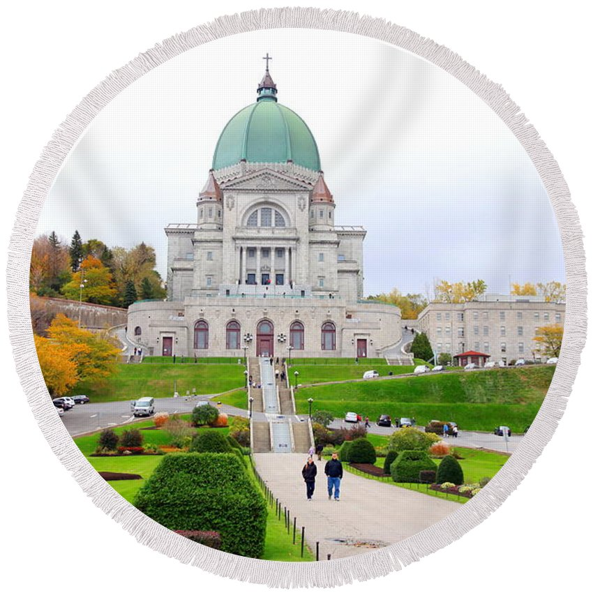 Montreal Round Beach Towel featuring the photograph St. Joseph Oratory by Valentino Visentini