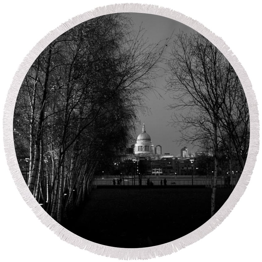 St Paul's Round Beach Towel featuring the photograph St Paul's With Silver Birches by Gary Eason