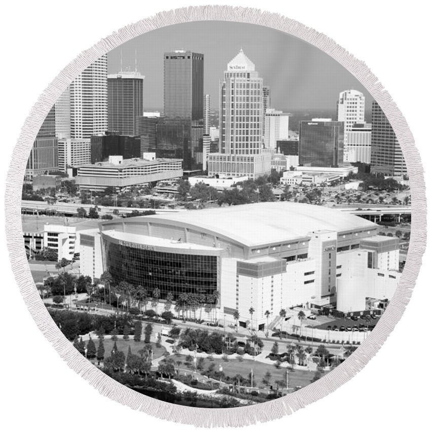 Black And White Round Beach Towel featuring the photograph St. Pete Times Forum And Tampa Skyline by Bill Cobb