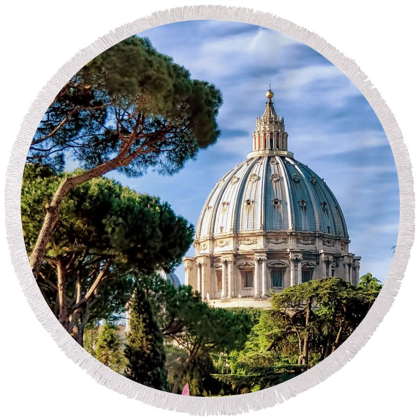 St Peters Round Beach Towel featuring the photograph St Peters Basilica Dome by Jon Berghoff