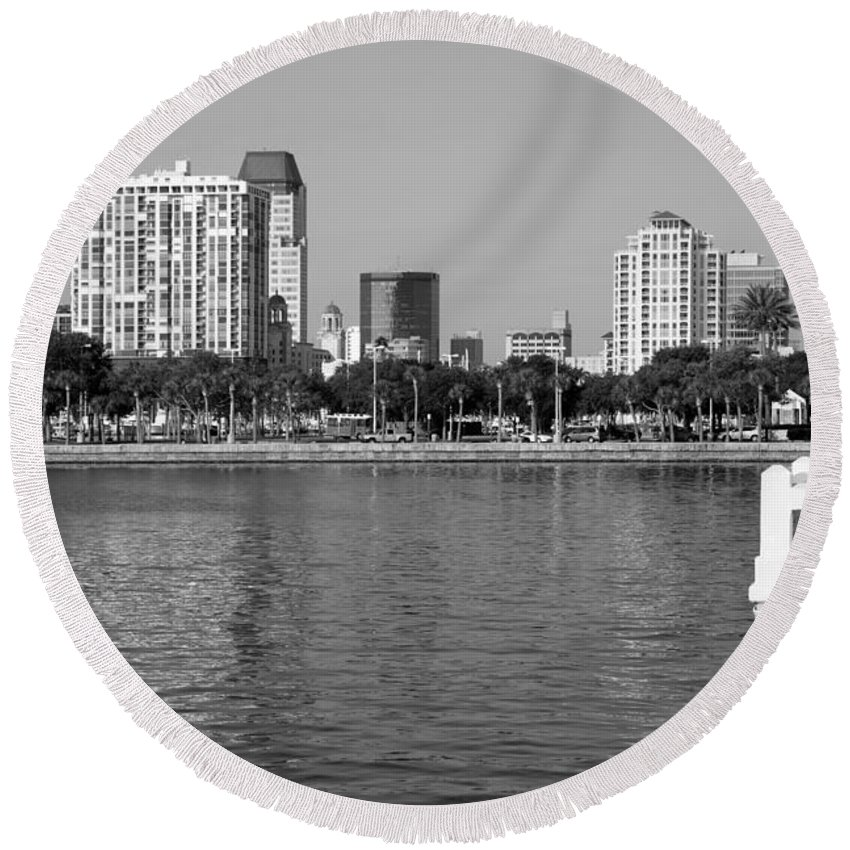 Black And White Round Beach Towel featuring the photograph St Petersburg Skyline by Bill Cobb