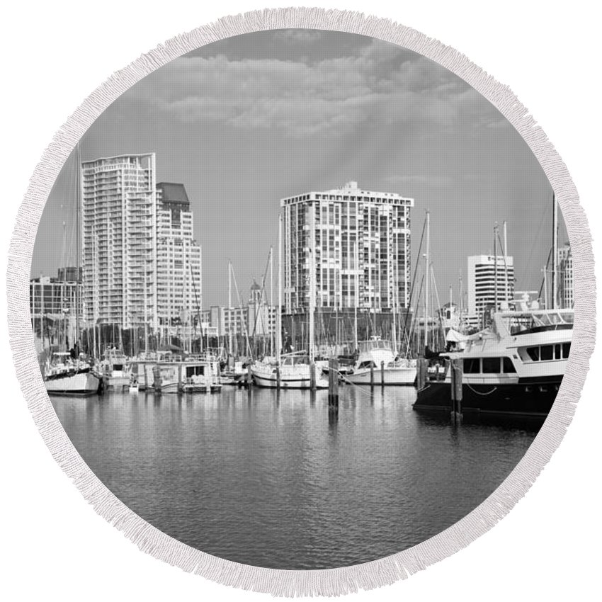 Black And White Round Beach Towel featuring the photograph St Petersburg Yacht Basin by Bill Cobb