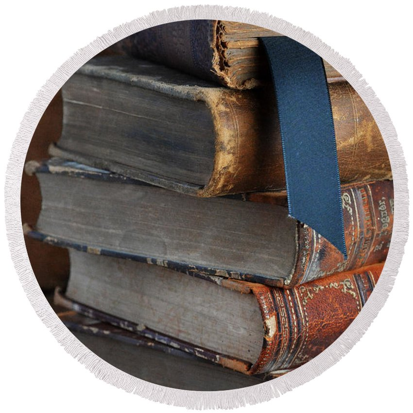 Books Round Beach Towel featuring the photograph Stack Of Vintage Books by Jill Battaglia