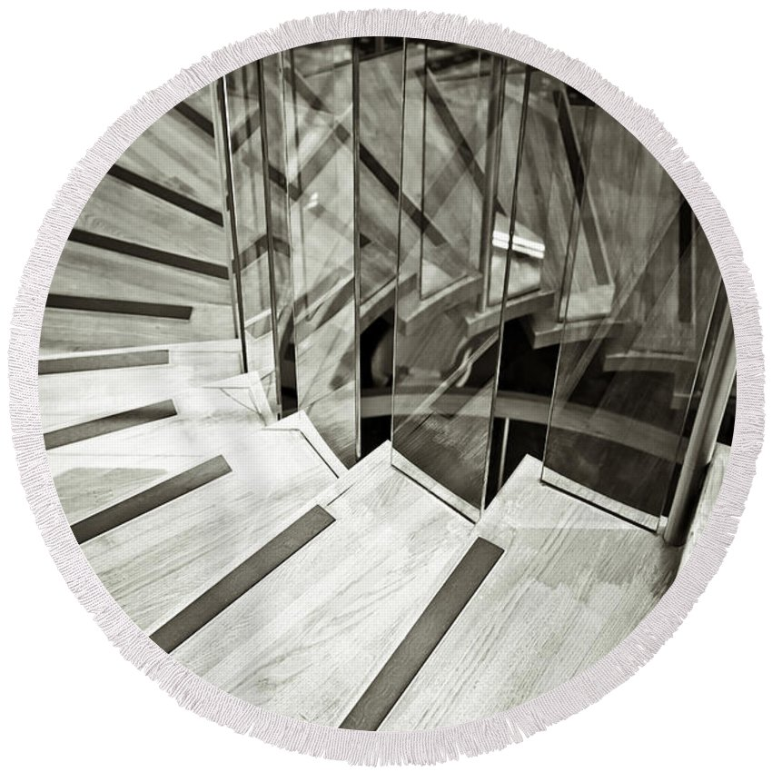 Achievement Round Beach Towel featuring the photograph Staircase by Tom Gowanlock