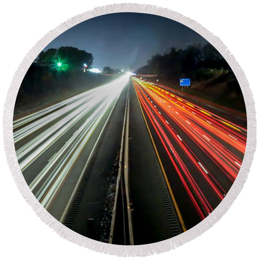 Blurred Round Beach Towel featuring the photograph Standing In Car On Side Of The Road At Night In The City by Alex Grichenko