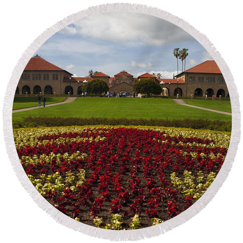 Travel Round Beach Towel featuring the photograph Stanford University Main Quad by Jason O Watson