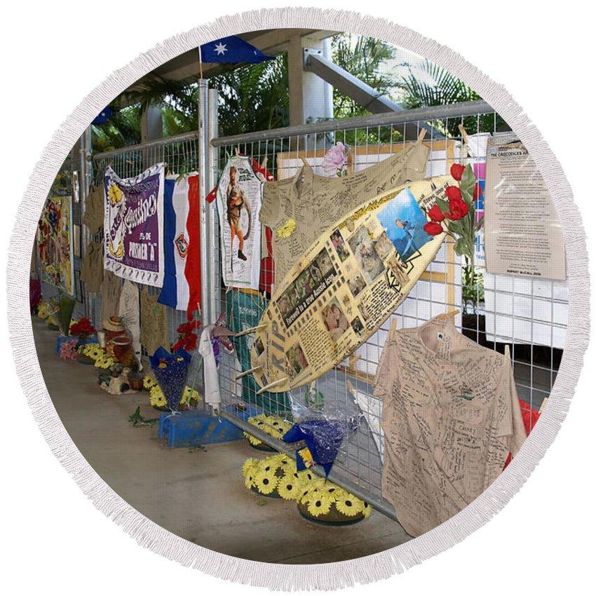 Australia Queensland Qld Round Beach Towel featuring the digital art Steve Irwin Memorial by Carol Ailles