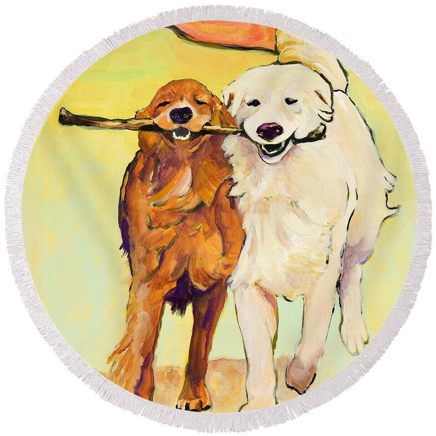 Pat Saunders-white Round Beach Towel featuring the painting Stick With Me by Pat Saunders-White