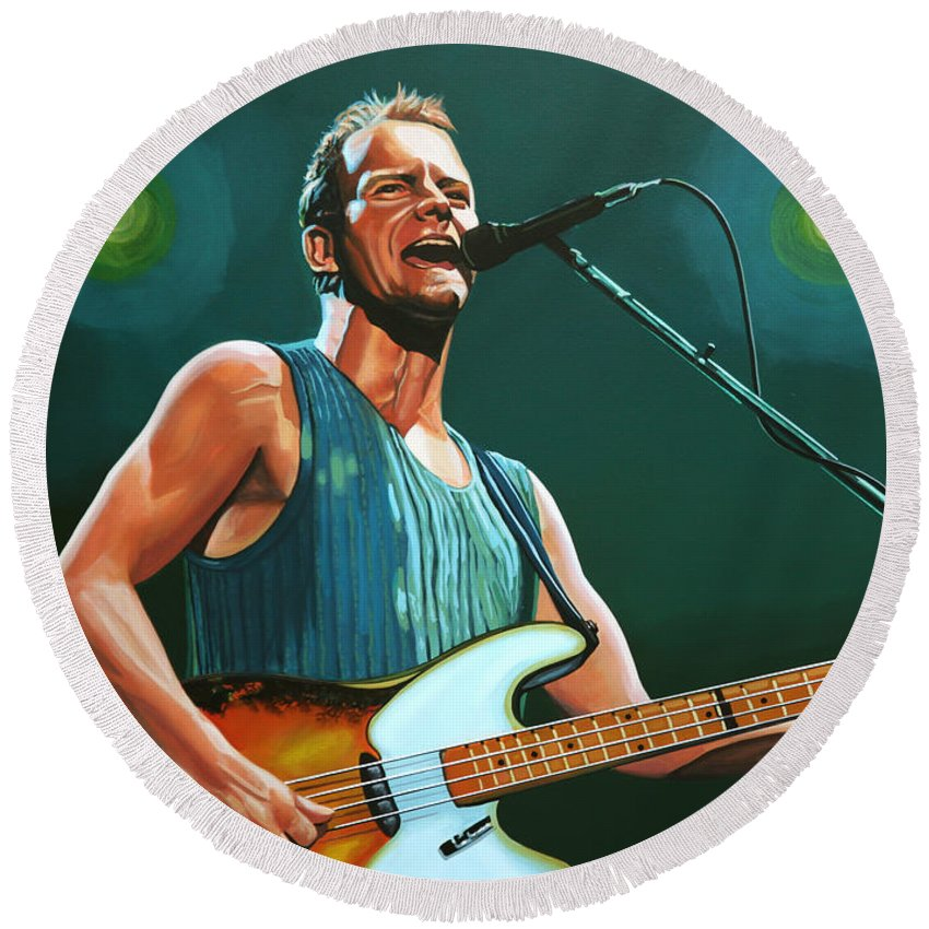 Sting Round Beach Towel featuring the painting Sting by Paul Meijering