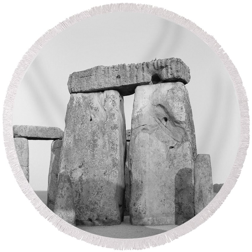Stone Round Beach Towel featuring the photograph Stonehenge by Anonymous