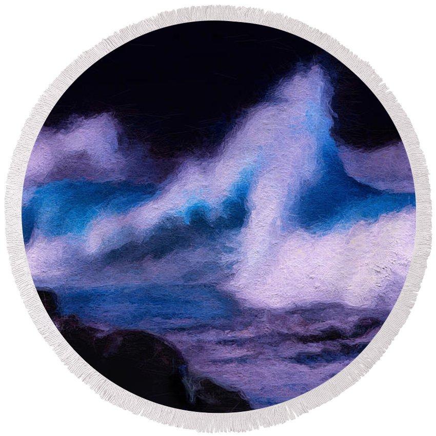 Storm Surge Round Beach Towel featuring the digital art Storm Surge by David Derr
