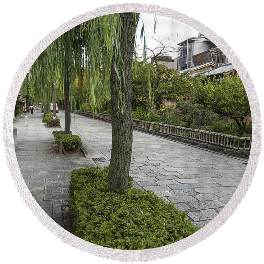 Architecture Round Beach Towel featuring the photograph Street In Kyoto Japan by Jacek Malipan