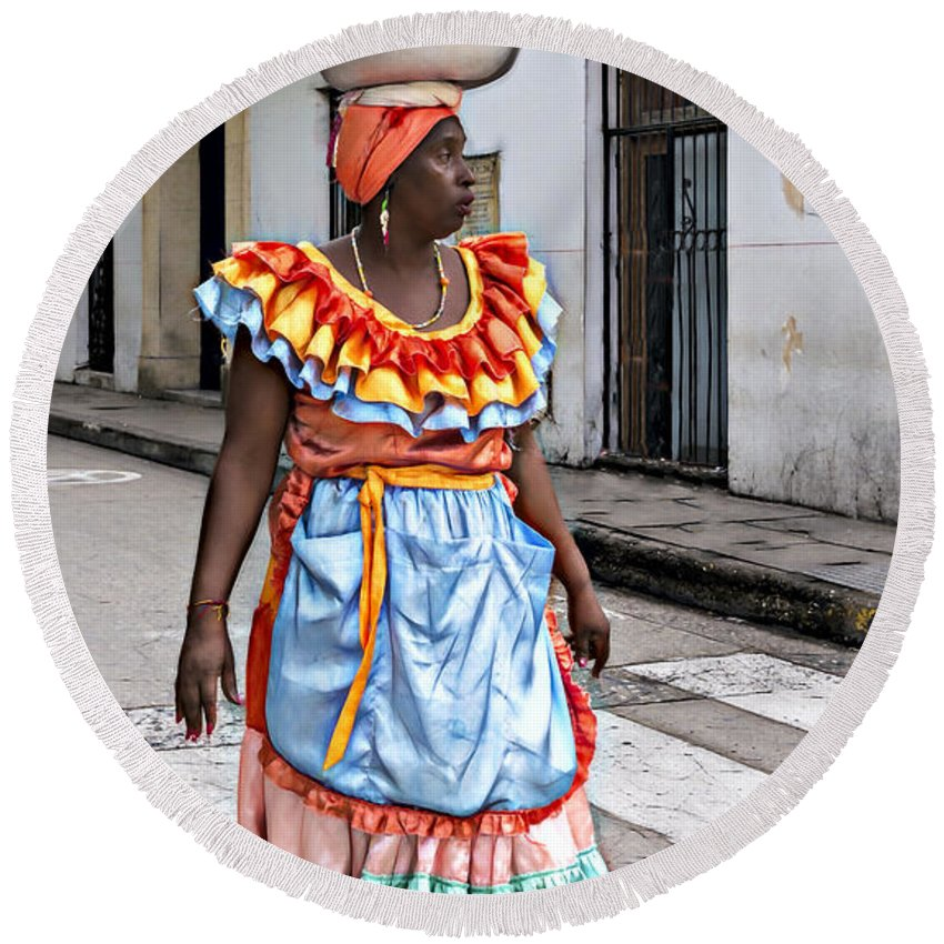 Woman Round Beach Towel featuring the photograph Street Vendor by Maria Coulson