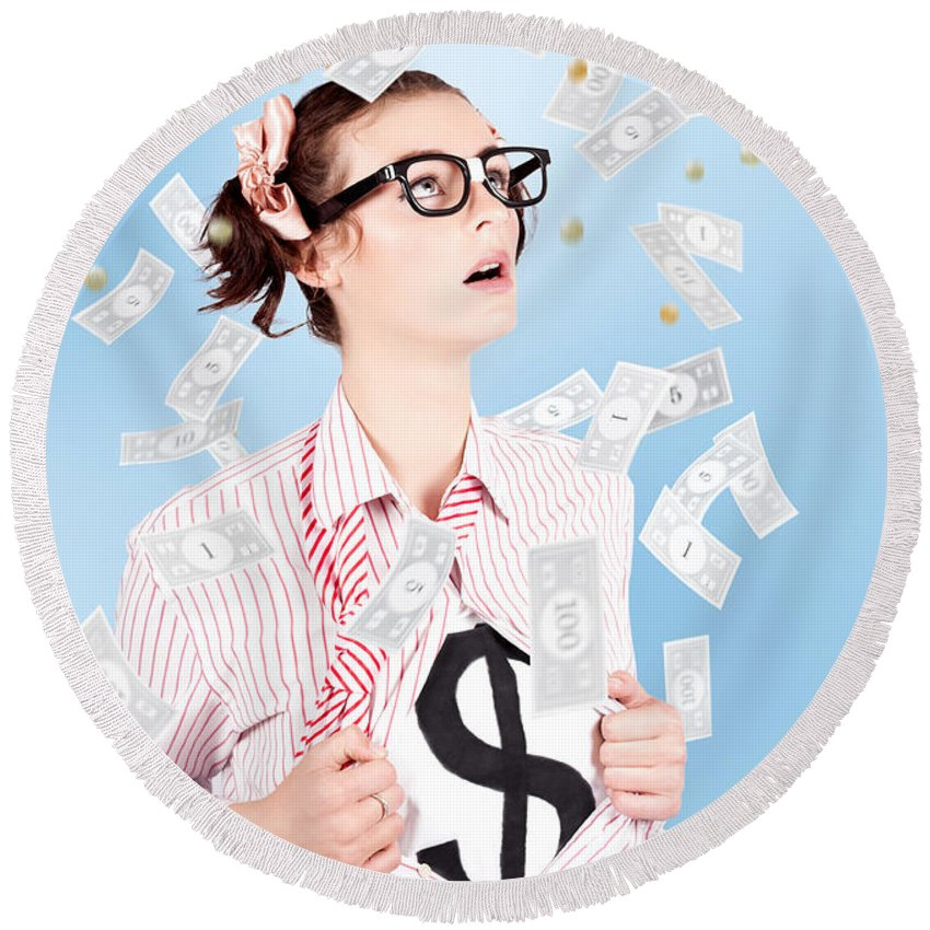 Adult Round Beach Towel featuring the photograph Successful Female Business Superhero Winning Money by Jorgo Photography - Wall Art Gallery