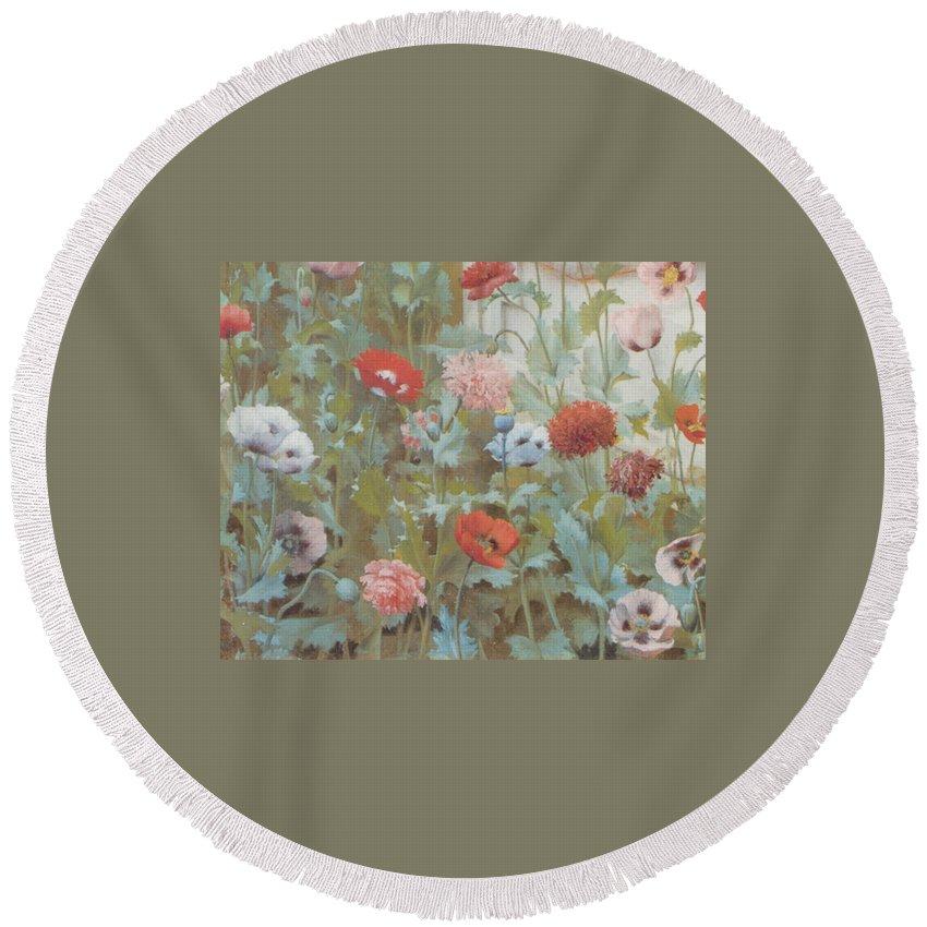 John William Godward Round Beach Towel featuring the digital art Summer Flowers by John William Godward