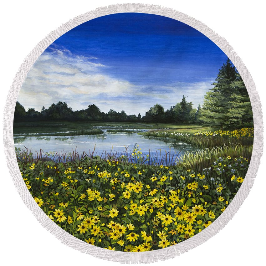 Wilderness Round Beach Towel featuring the painting Summer Susans by Mary Palmer