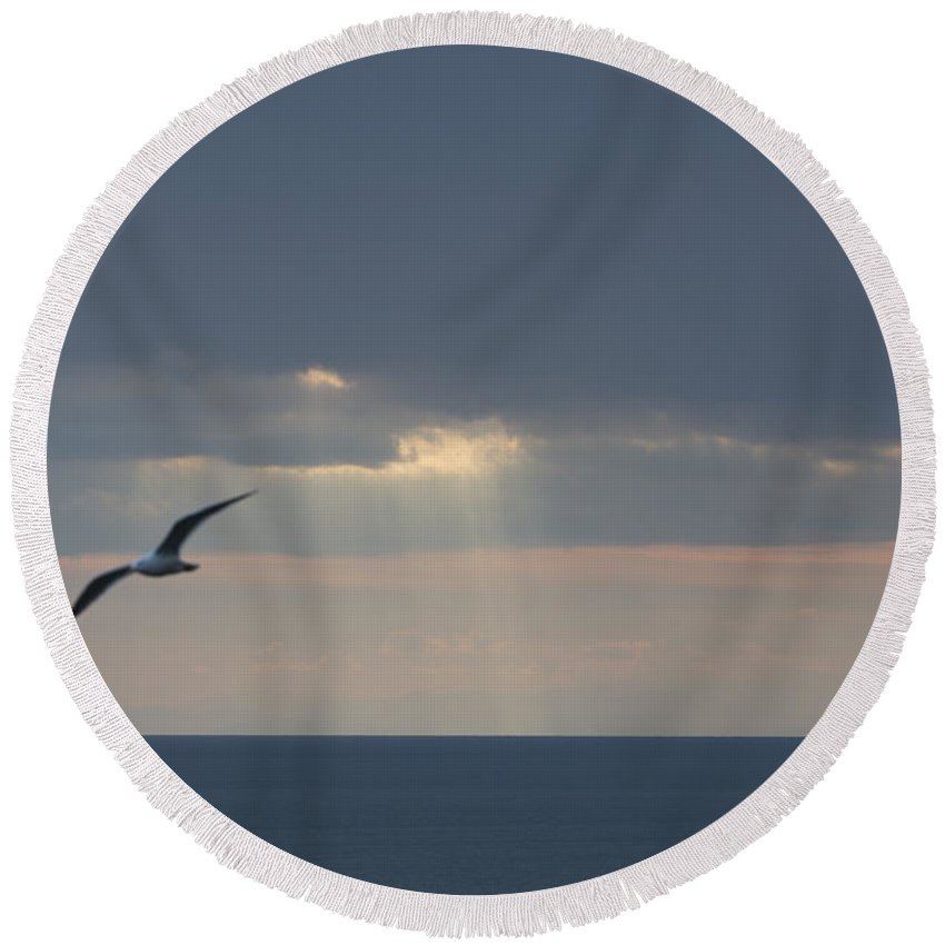 Sea Round Beach Towel featuring the photograph Sunlight Over The Sea by Mats Silvan