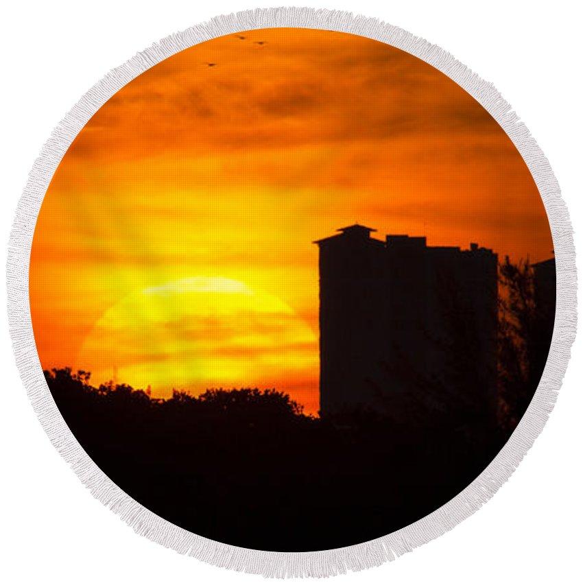 Sunrise Round Beach Towel featuring the photograph Sunrise by Meg Rousher
