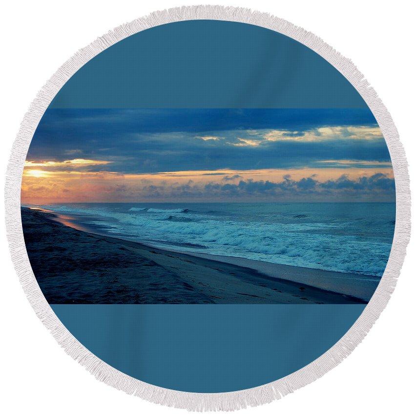 Sunrise Round Beach Towel featuring the photograph Sunrise by Mim White