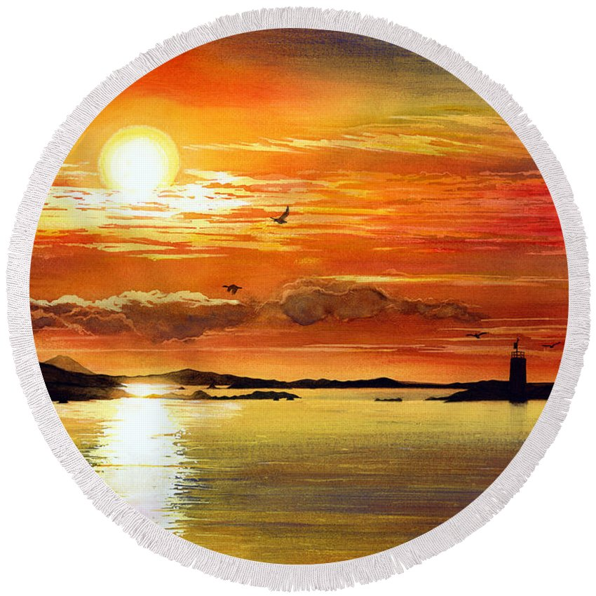 Sunset Round Beach Towel featuring the painting Sunset Lake by Hailey E Herrera