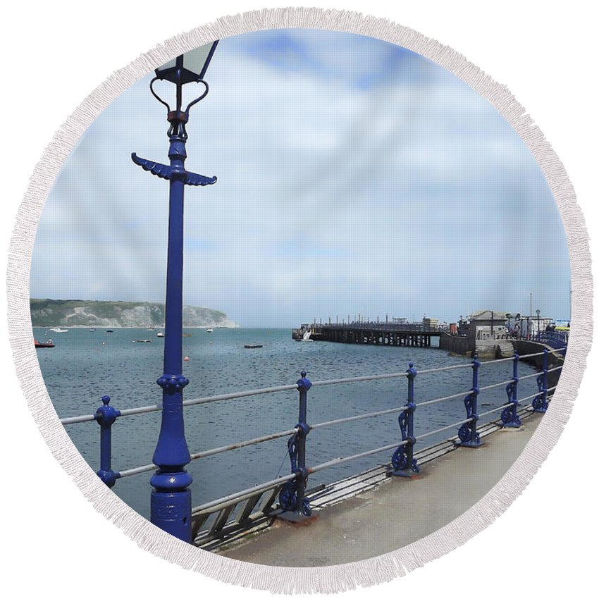 Old Harry Rocks Round Beach Towel featuring the photograph Swanage Pier by Linsey Williams