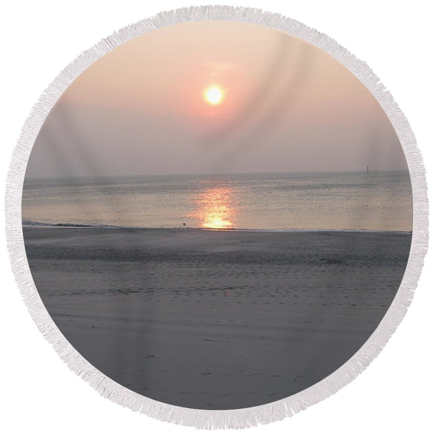 Sylt Sunset Round Beach Towel featuring the photograph Sylt Sunset 3 by Heidi Sieber