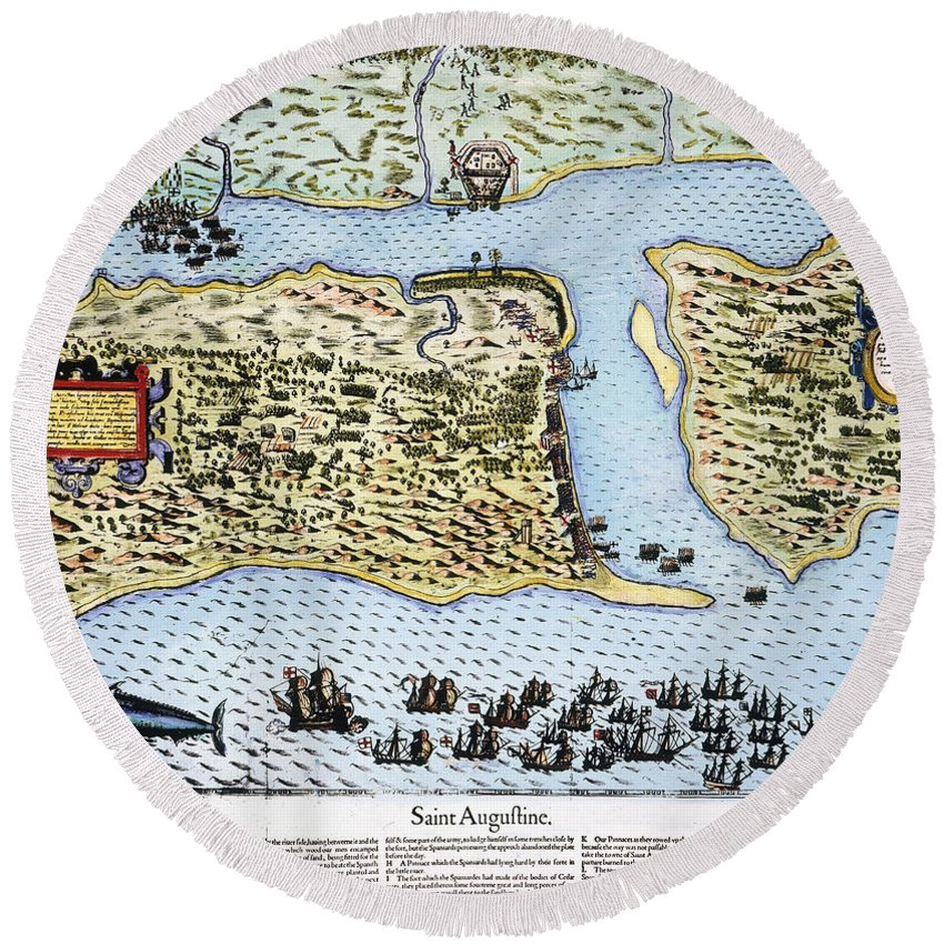 1586 Round Beach Towel featuring the photograph Taking Of St. Augustine by Granger