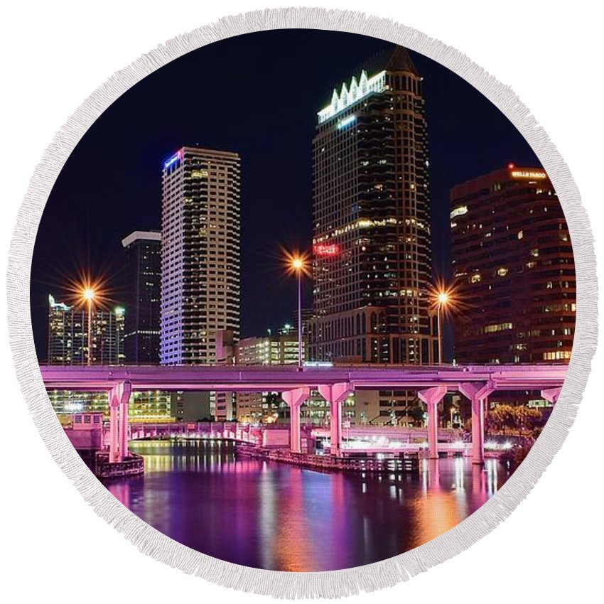 Tampa Round Beach Towel featuring the photograph Tampa Colors by Frozen in Time Fine Art Photography