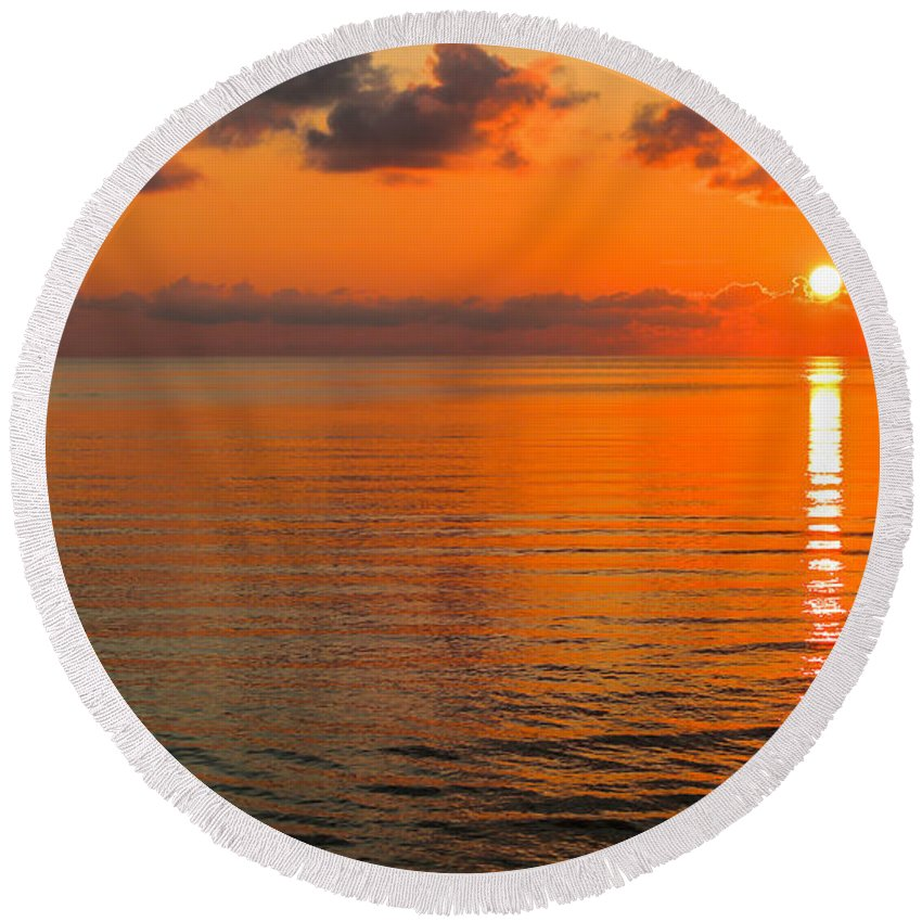 Coast Round Beach Towel featuring the photograph Tangerine Dawn by Paula OMalley