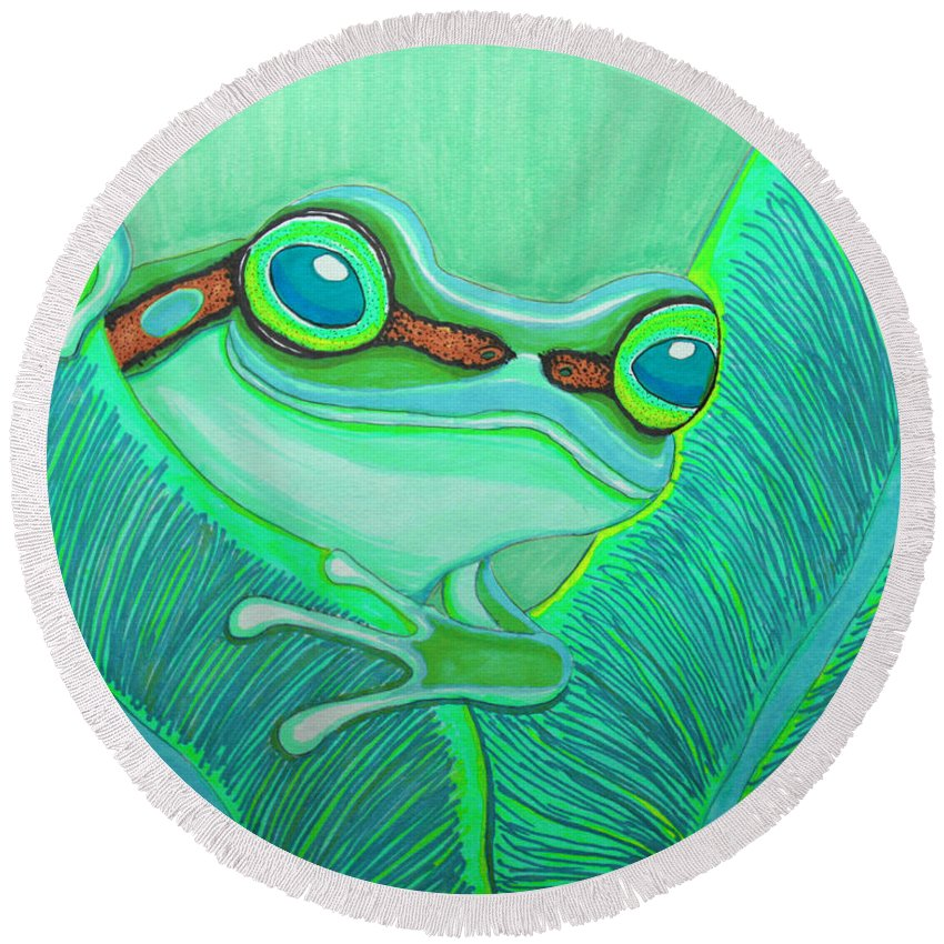 Frog Round Beach Towel featuring the drawing Teal Frog by Nick Gustafson