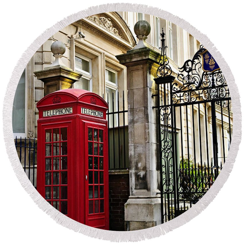 London Round Beach Towel featuring the photograph Telephone Box In London by Elena Elisseeva