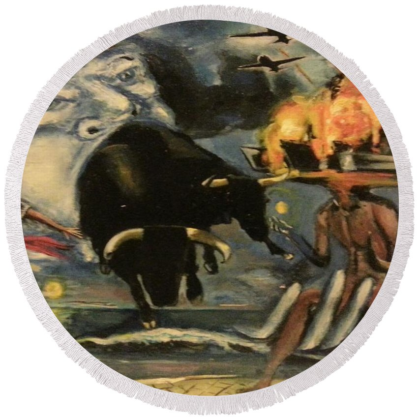 Round Beach Towel featuring the painting The Air Giving Birth To The Beasts Of The Feild by Jude Darrien
