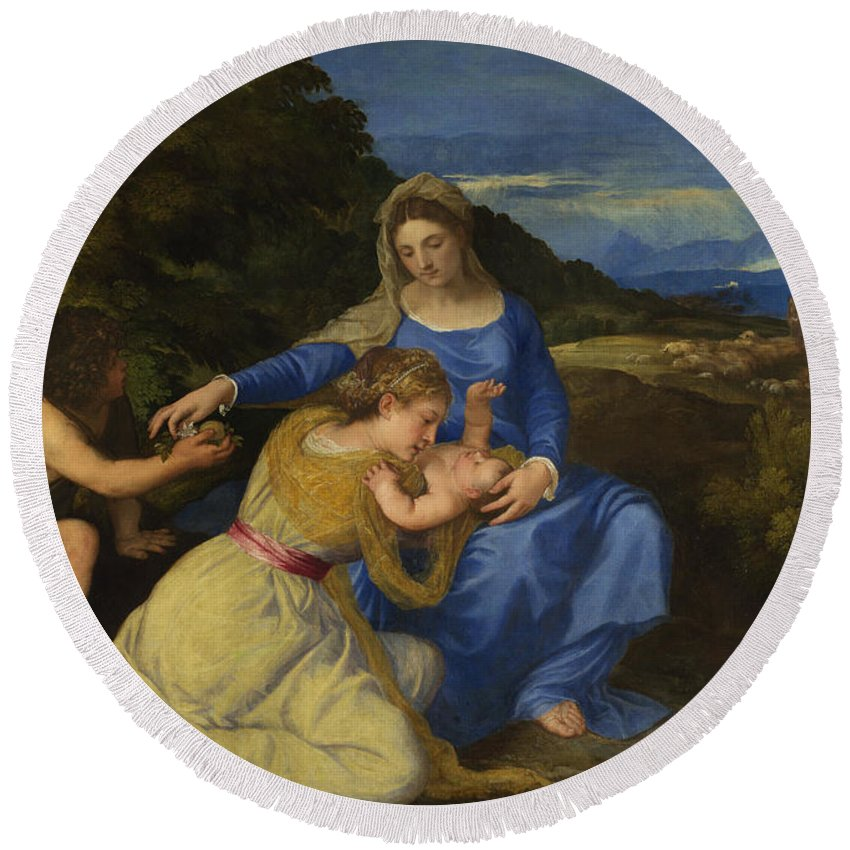 Titian Round Beach Towel featuring the painting The Aldobrandini Madonna by Titian