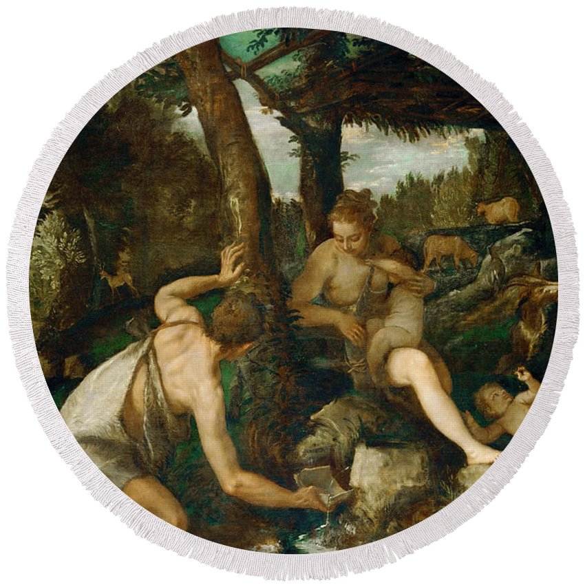 Paolo Veronese Round Beach Towel featuring the painting Adam And Eve After The Expulsion From Paradise by Paolo Veronese