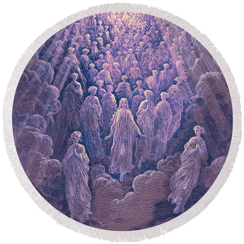 Gustave Dore Round Beach Towel featuring the painting The Angels In The Planet Mercury by Gustave Dore