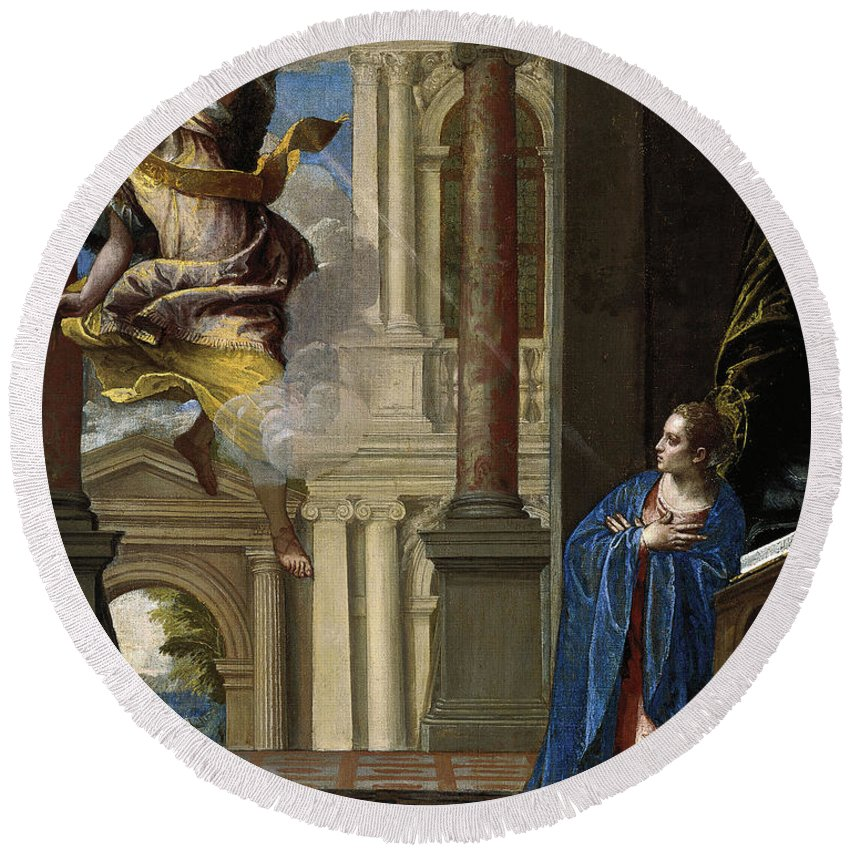 Paolo Veronese Round Beach Towel featuring the painting The Annunciation by Paolo Veronese