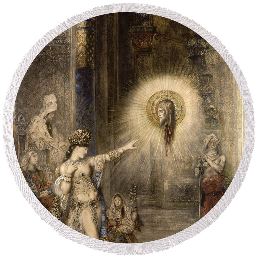 Gustave Moreau Round Beach Towel featuring the painting The Apparition by Gustave Moreau