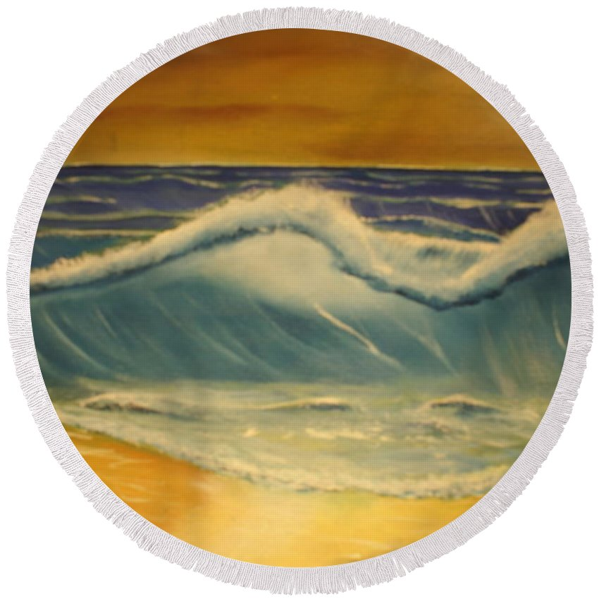 Beach Seashore Sand Round Beach Towel featuring the painting The Big Wave by Raymond Sellers